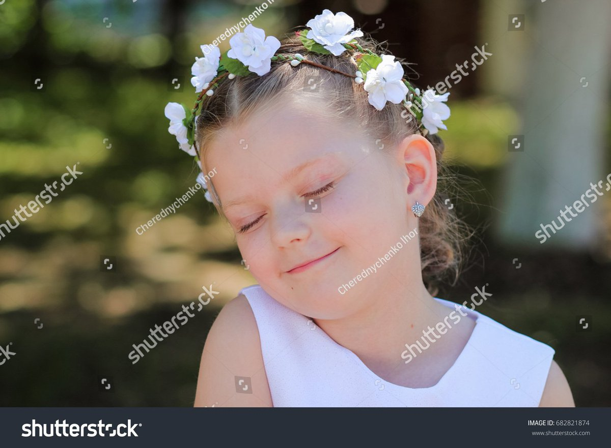 Little girl #dreaming with eyes closed, child with a #wreath of #artificial flowers on her head  https:// goo.gl/2nx3Ty  &nbsp;    #flower #child<br>http://pic.twitter.com/0aFoKOtG7S