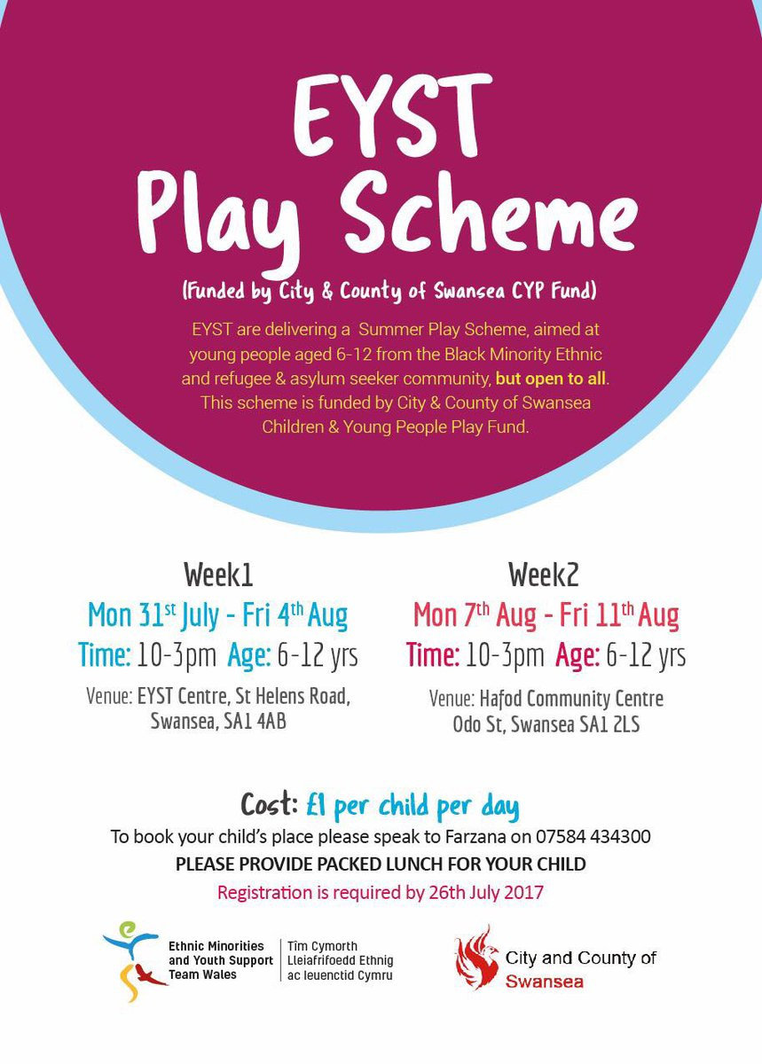 #School&#39;sOut!!! EYST are offering a fantastic #Summer #Playscheme for kids aged 6-12 for 2 weeks from next Monday funded by @SwanseaCouncil<br>http://pic.twitter.com/nezNvkz2if