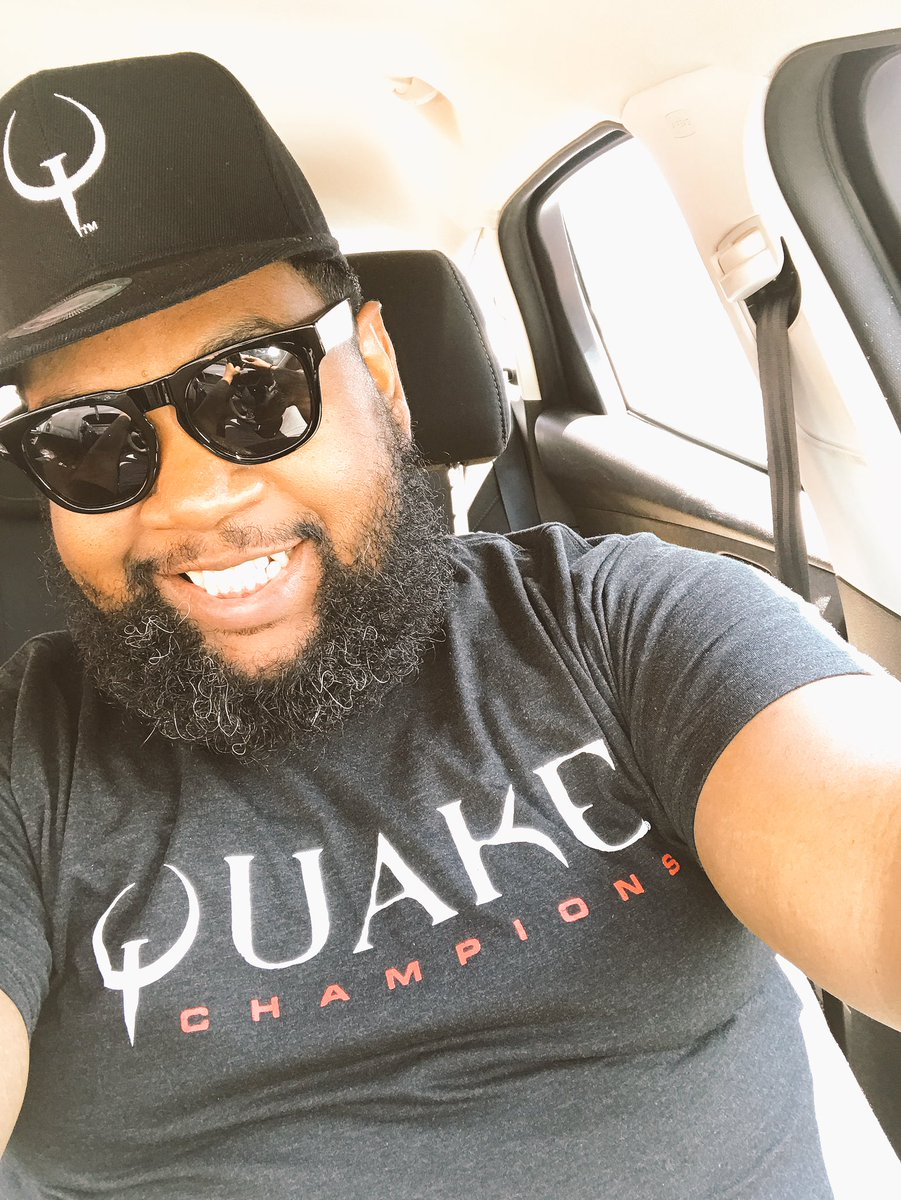 Representing @Quake today! Are you signed up for the #QuakeChampions beta?  pic.twitter.com/dVDEO8hnS7