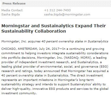 We've expanded our #sustainability collaboration with @Sustainalytics https://t.co/755c2LYGI0 #MstarESG
