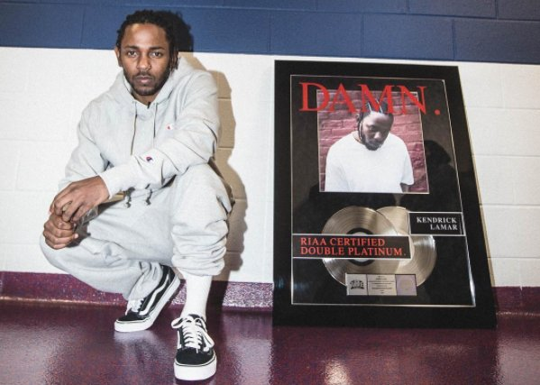 """damn."" is officially kendrick lamar's first double platinum album 💿 💿..."