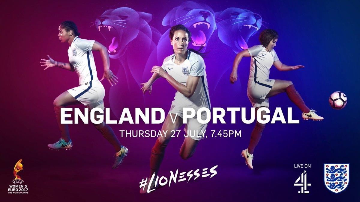 #ENG v #POR   Thursday 27 July  19:45pm  @Channel4  Tilberg  #Lionesses<br>http://pic.twitter.com/COPsl0DVPa