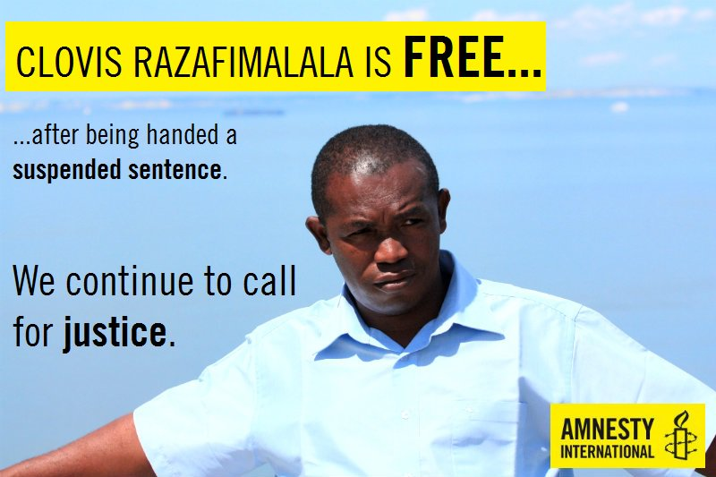 Environmental activist Clovis Razafimala is free after facing trial today... but the fight isn&#39;t over yet. #FreeClovis #Madagascar <br>http://pic.twitter.com/UyEaFIBB4K