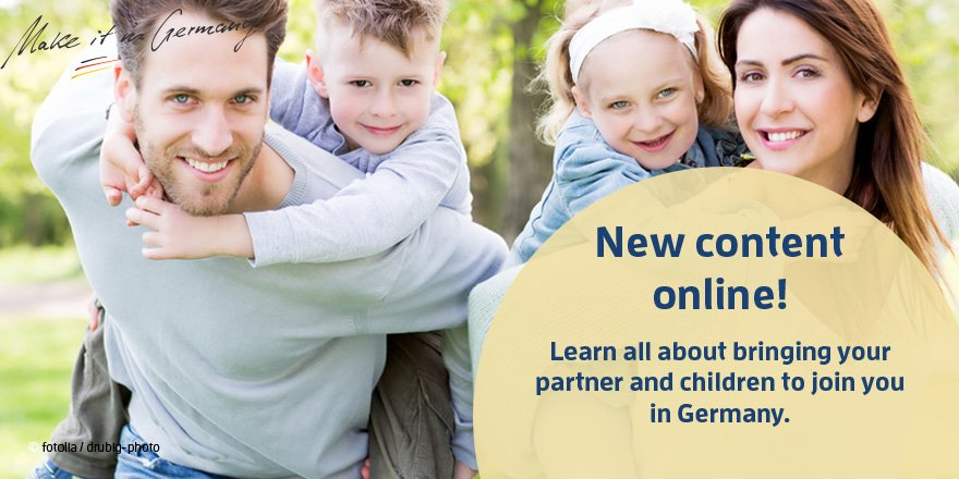 You are living &amp; working in #Ger and would like to bring your partner &amp; your children to #Ger? We explain you how  http://www. make-it-in-germany.com/en/for-qualifi ed-professionals/living/bringing-your-family-to-join-you-in-germany &nbsp; … <br>http://pic.twitter.com/9MdFDBA5kr