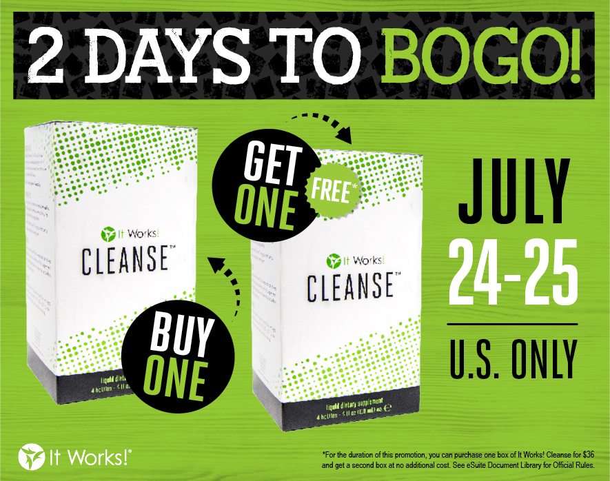 It's BOGO time! You can now grab not ☝, but ✌ boxes of our It Works! Cleanse for the price of one! Ends tomorrow! https://t.co/dFkSiG2MIS