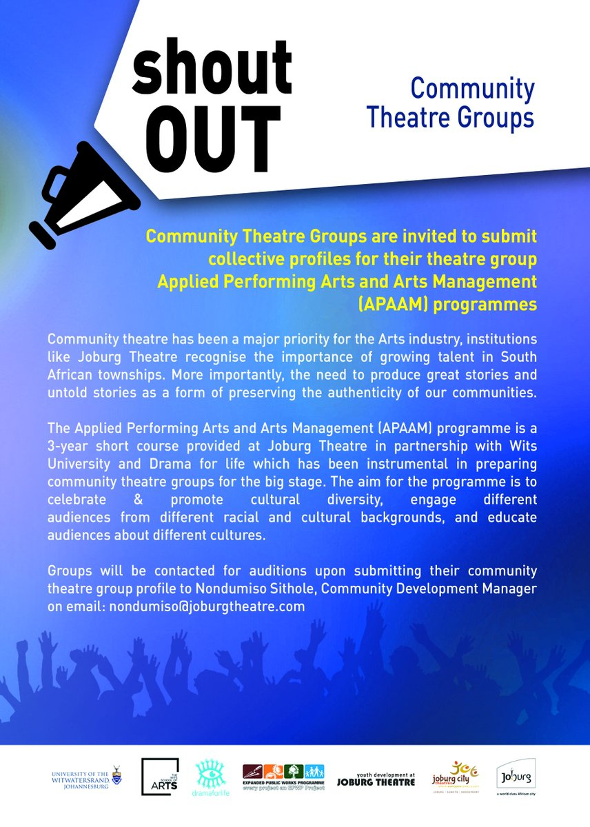 #CALL FOR #APPLICATIONS @JoburgTheatre in partnership with @Drama_for_Life invites Community Theatre Groups to apply for #APAAM programme.<br>http://pic.twitter.com/SVoqC4D3h1