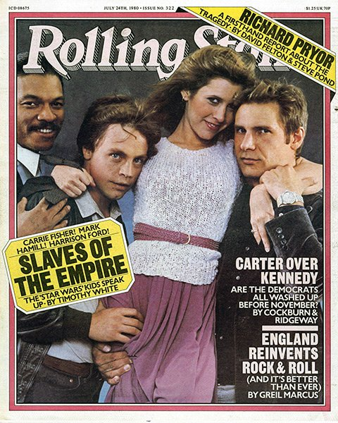 July 24, 1980, cast of Empire Strikes Back appeared on the cover of Rolling Stone magazine. #80s <br>http://pic.twitter.com/MPCvExMmDV