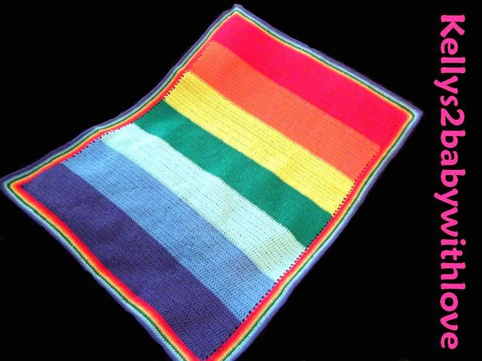 Handmade Rainbow Striped Cot Baby Crochet Blanket / Nursery / Bedding  http:// etsy.me/2qHPyTT  &nbsp;   #Crochet #Blanket <br>http://pic.twitter.com/IRhAqtabu0