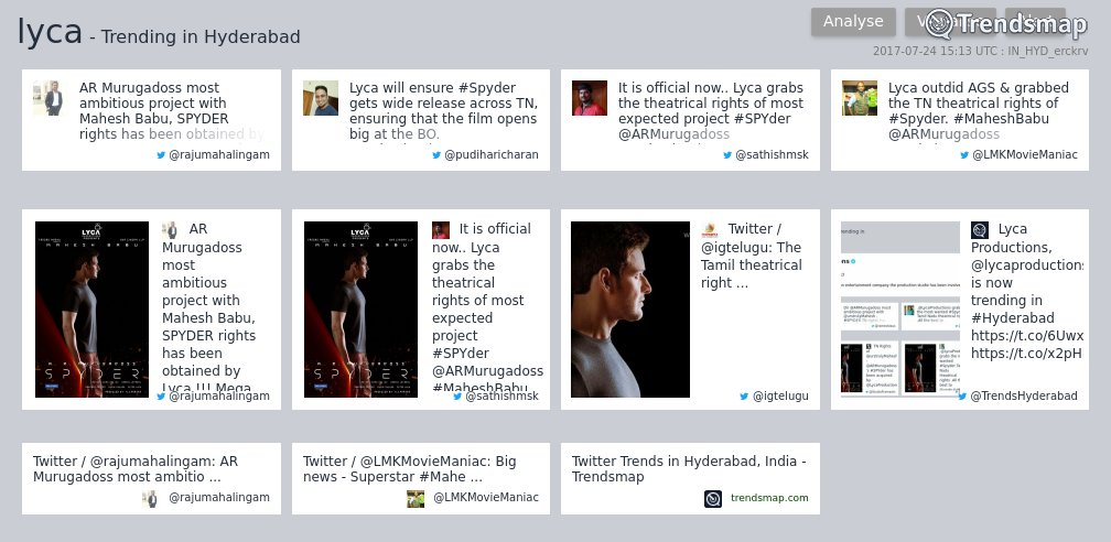 &#39;lyca&#39;, &#39;obtained&#39; &amp; &#39;ambitious&#39; are now trending in #Hyderabad   https://www. trendsmap.com/r/IN_HYD_erckrv  &nbsp;  <br>http://pic.twitter.com/LqcpKB3Ate