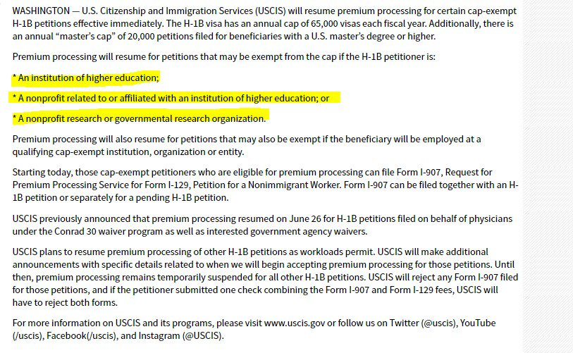 Anirban On Twitter Uscis Resumes H1b Premium Processing For Non