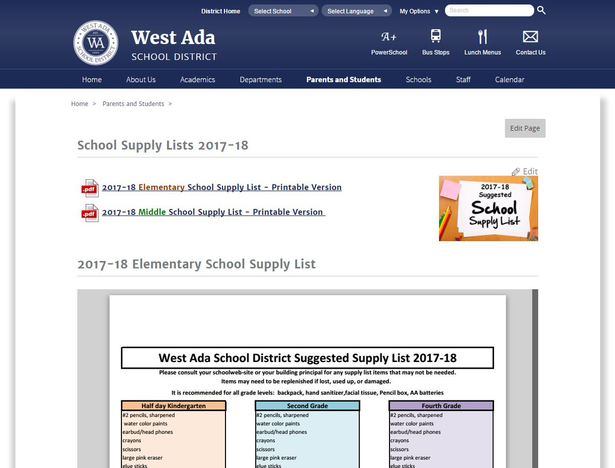 West Ada Calendar.West Ada Schools On Twitter Find School Supplies Lists On The West