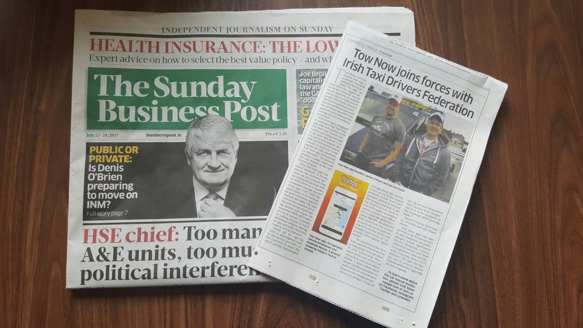 TowNow&#39;s first appearance in the Sunday papers! #TowNow #sundaybusinesspost #sunday #paper #news #app #technology #recovery #towing #future<br>http://pic.twitter.com/ez4j2iMpRC