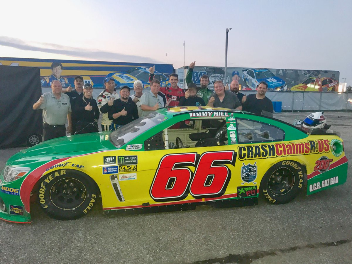 In his 200th NASCAR start, @TimmyHillRacer finished the #Brickyard400 in 14th! Such a great accomplishment for this small team! #NASCAR <br>http://pic.twitter.com/beFpq1UFCj