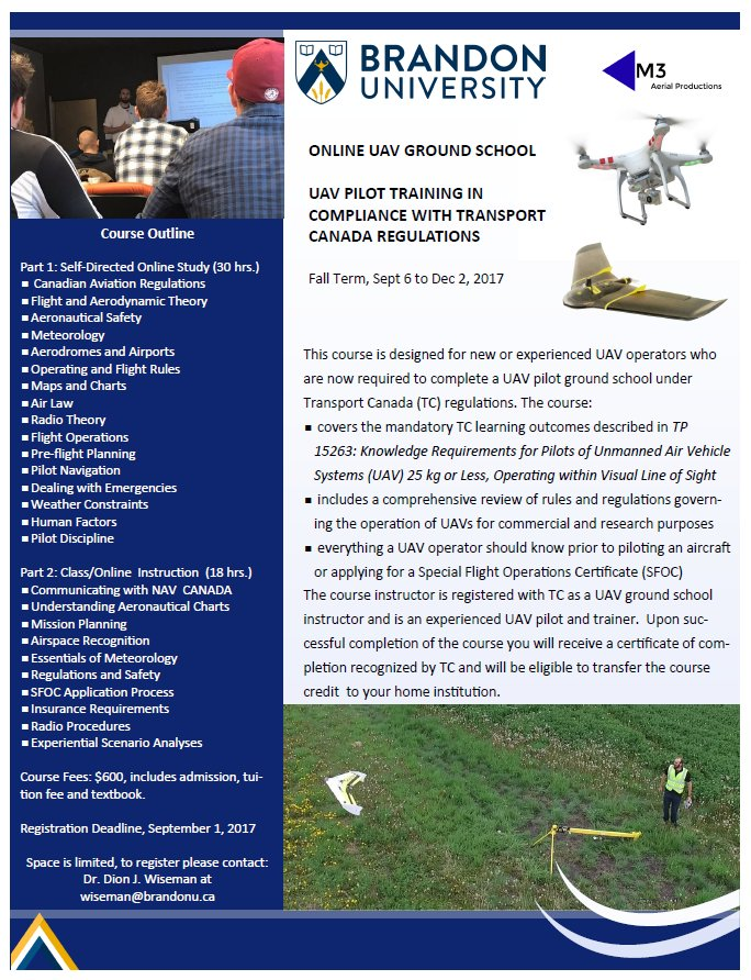 #M3Aerial is happy to announce that our #UAV #GroundSchool course will be offered as a credit course at Brandon University in fall session!<br>http://pic.twitter.com/CrLOpjEjfs