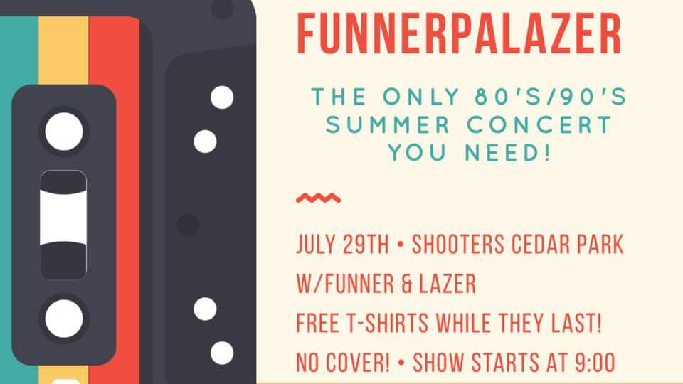 Go shake your butts off with @fUNNERatx &amp; #Lazer this saturday!! Great music, free goodies and cold drinks! #austintx #80s #90s #livemusic<br>http://pic.twitter.com/rJaaGMBD9P