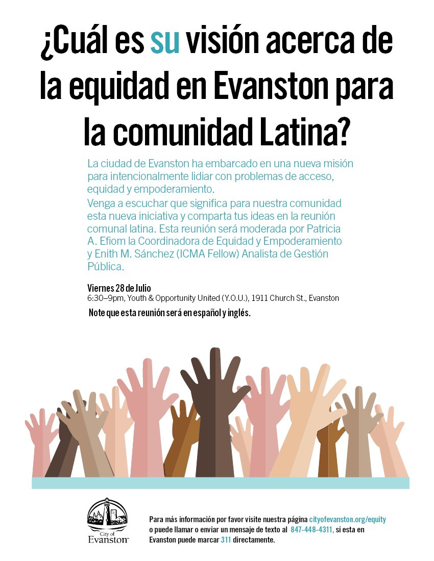 """City of Evanston on Twitter: """"Share your ideas on equity and empowerment in  #Evanston at a town hall meeting in Spanish and English this Friday,  6:30pm, at @YOUevanston… https://t.co/4qMNBV6U2e"""""""