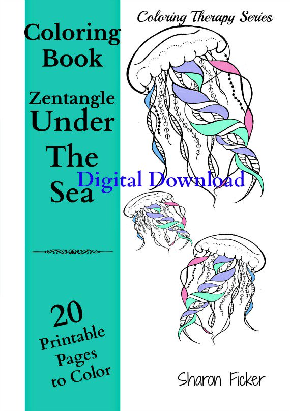 Adult Coloring Therapy Book Zentangle Under The Sea Art Vol 4 20 Printable PDF Calming Anti Stress Etsyme 2uyf2lH Pictwitter
