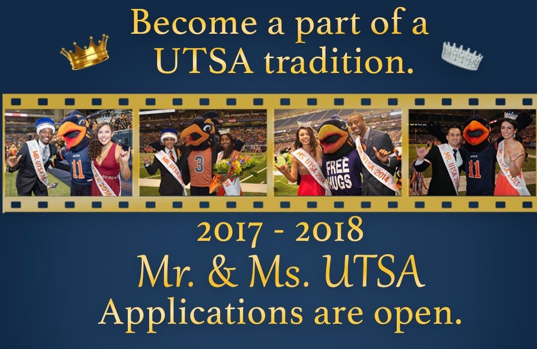 Are you interested in becoming the next Mr. or Ms. UTSA? Today is the last day to submit your application.   APPLY » http://utsa.campuslabs.com/engage/