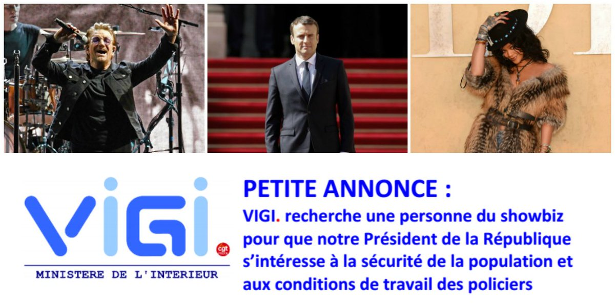 Pour être reçu par Macron, comme Bono et Rihanna, ce syndicat de police cherche une 'personne du showbiz' https://t.co/7H25UKb6LI