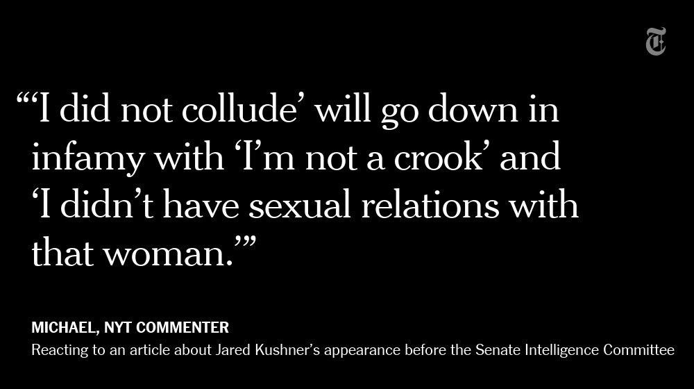 One NYT reader responds to Jared Kushner's remarks https://t.co/alDFkmSzxp