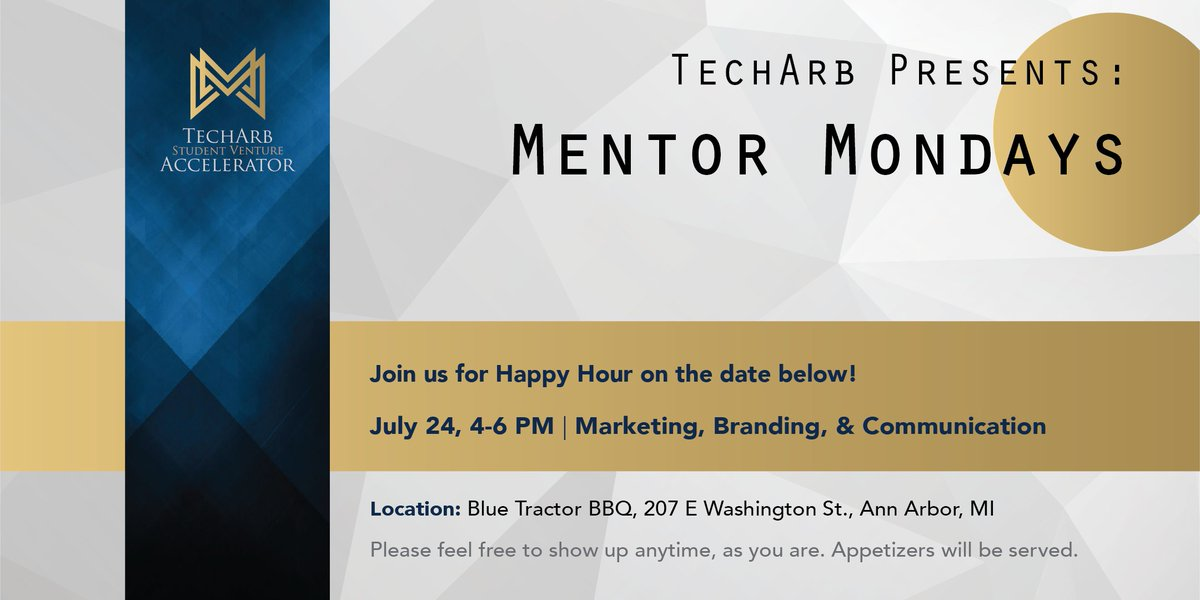 Calling all #marketing #branding &amp; #communication mentors! Join us @ 4 for a happy hour meet &amp; greet!  https://www. eventbrite.com/e/techarb-ment or-mixer-tickets-35734167858 &nbsp; …  @a2bluetractor<br>http://pic.twitter.com/2UJB8qA9U8