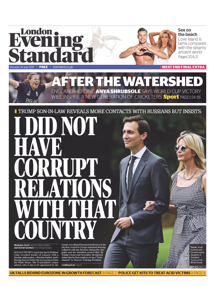 Front page of London's @EveningStandard.