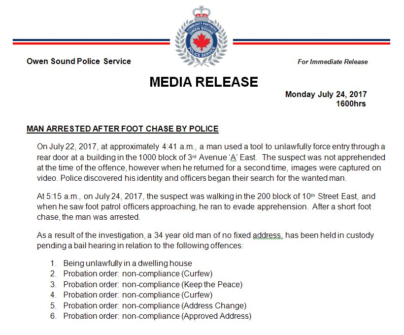 #MEDIARELEASE Monday July 24, 2017  #Arrest after foot chase, 34yr old man held in custody. #OwenSound <br>http://pic.twitter.com/ICE2qJ5698