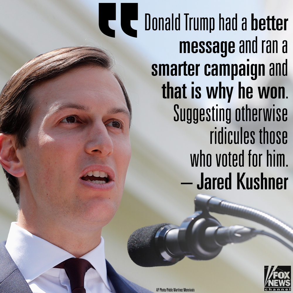 Jared Kushner: Suggesting #DonaldTrump won unfairly ridicules voters https://t.co/b6xq57PqQ4