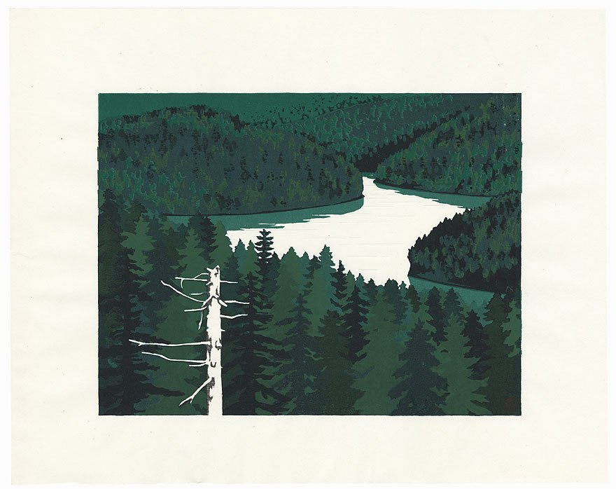 &quot;Deep #Green #Lake #Penketo&quot; by Yasushi Omoto (1926 - ?); #Japanese #woodblock #print. Available@:  http:// bit.ly/YasushiOmoto  &nbsp;   #ukiyoe #japan<br>http://pic.twitter.com/W3Z86dl8TB