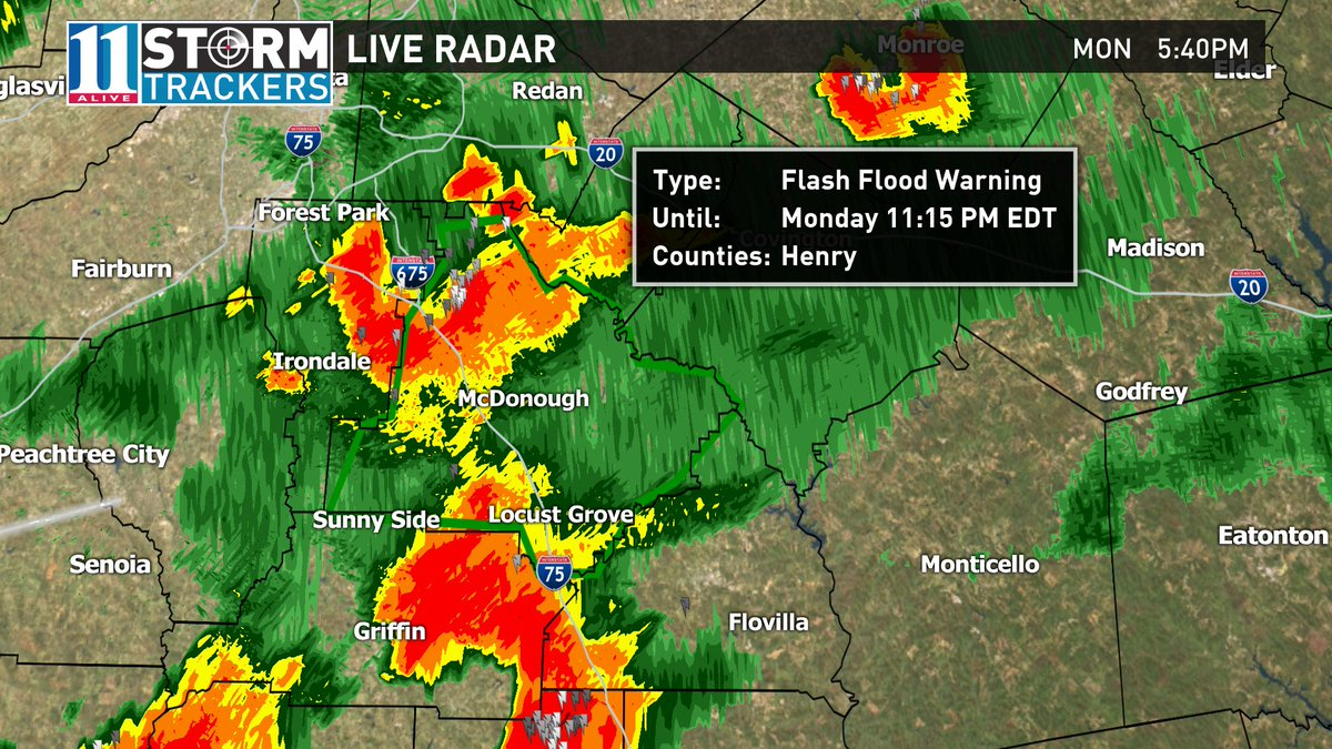 Flash flood warning for Henry Co. 2-3' of rain has fallen in some spots with more to come. #11Alive