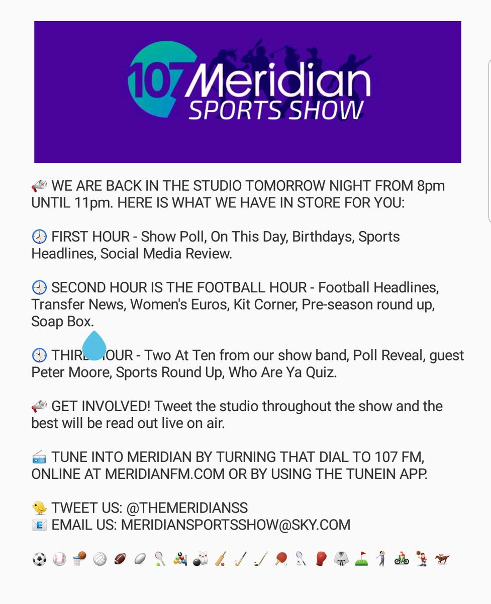 Here&#39;s our rundown for the show tomorrow night live on @MeridianFM so make sure you tune in and interact #sport #radio #music<br>http://pic.twitter.com/1zf3MMg3IC