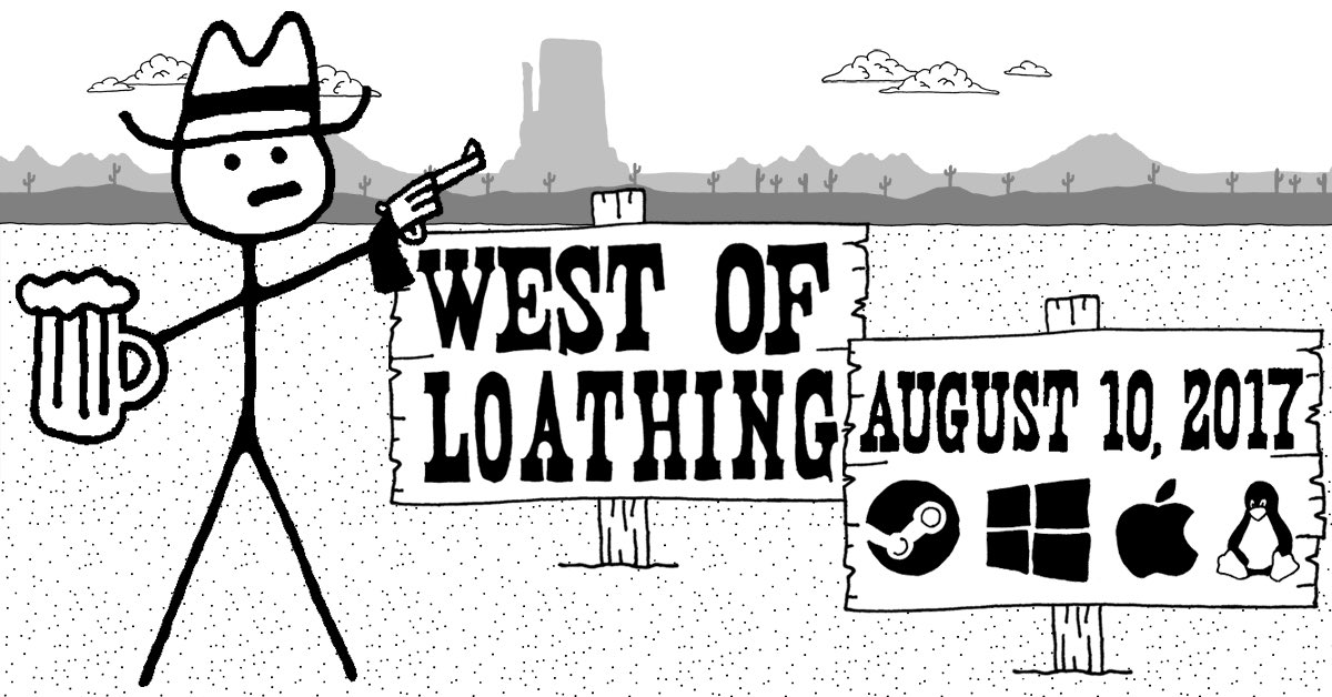 We're thrilled to announce:  West of Loathing will be released on Steam (Win/Mac/Linux) August 10th! https://t.co/SBkuF4B9AU