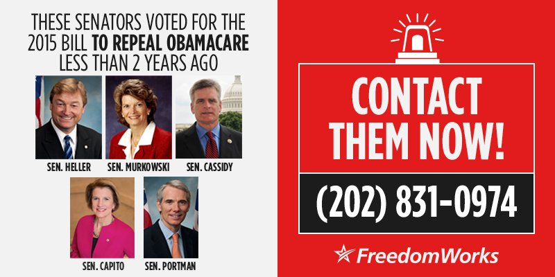 Keep up the pressure. Call these senators to pressure them to continue supporting repeal of #ObamaCare, even when it will pass.