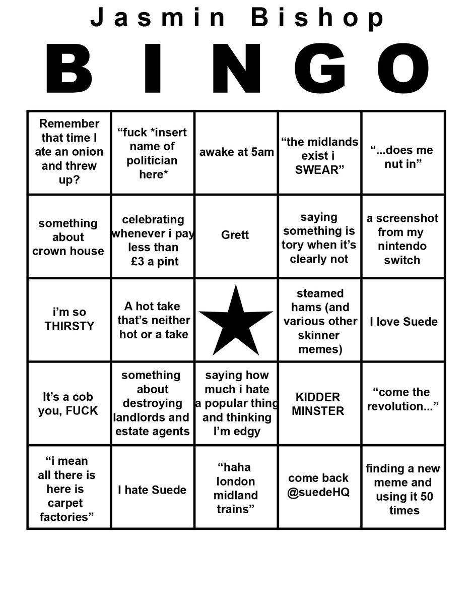 edgy g robinson on twitter jasmin bishop bingo card https t co