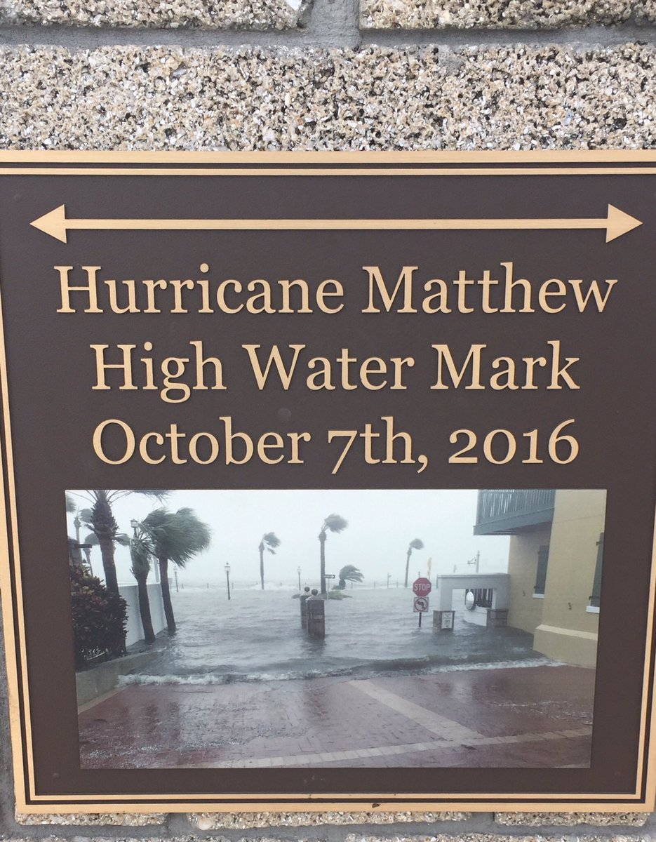 Just noticed this &quot;high water&quot; mark from Hurricane #Matthew in St. Augustine. #FirstAlertWX @actionnewsjax @WOKVNews<br>http://pic.twitter.com/oBl5c9U1l0