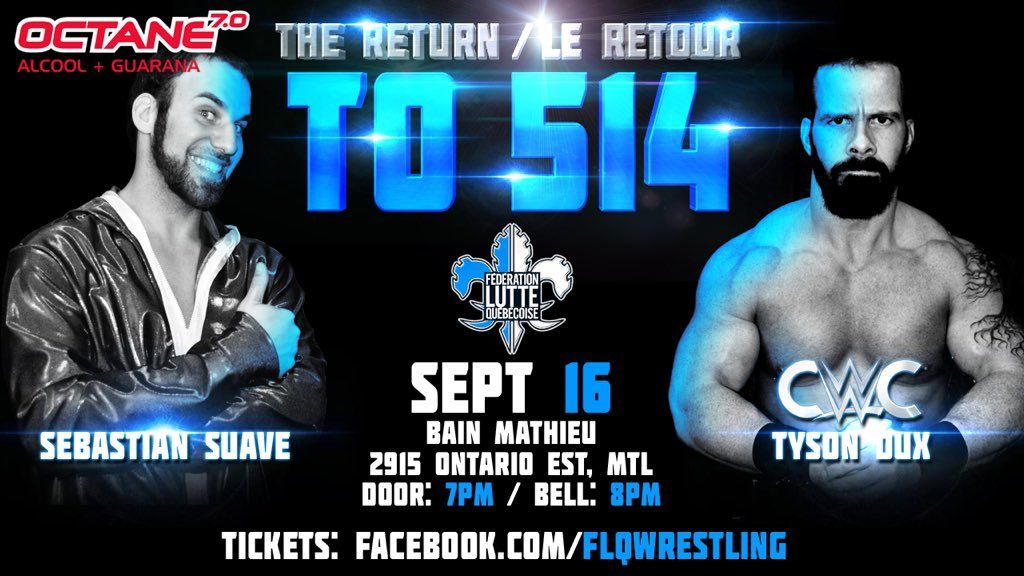 @suavewrestling vs @TysonDux Apprentice vs mentor on Sept 16! Tix thru our FB page! #raw #wwe #cwc #flq #yul #514 <br>http://pic.twitter.com/pPoW5pu8pJ