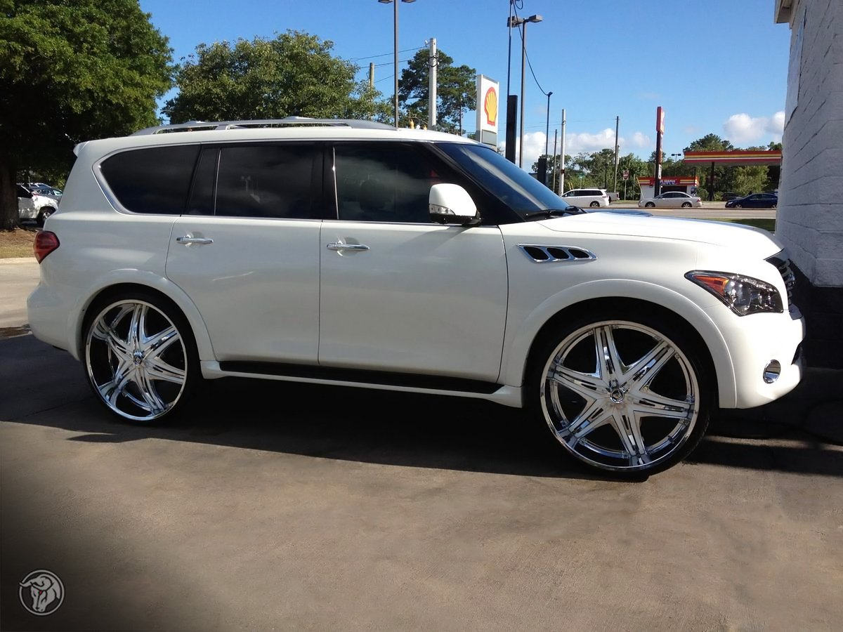 Qx56 on topsy color matched diablo elite wheels on this pure white infiniti qx56 dynamicwheel infiniti vanachro Image collections