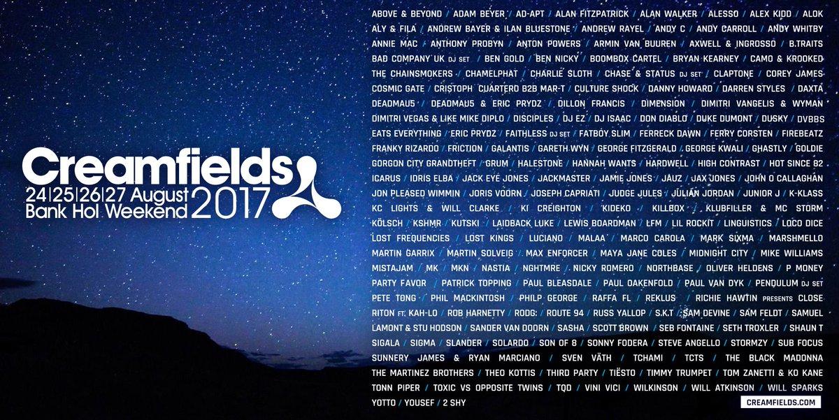 #Creamfields2017 stellar line-up 🎪⚡️✨ 👉 https://t.co/8FvcZTle2s #MondayMotivation