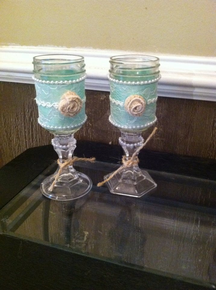 Shabby Chic Glasses or Candle Holders, Rustic Wine Glasses,Mason Jar  https:// seethis.co/X4PLy/  &nbsp;   #handmadehour #etsyseller <br>http://pic.twitter.com/8hnrAfaH3L