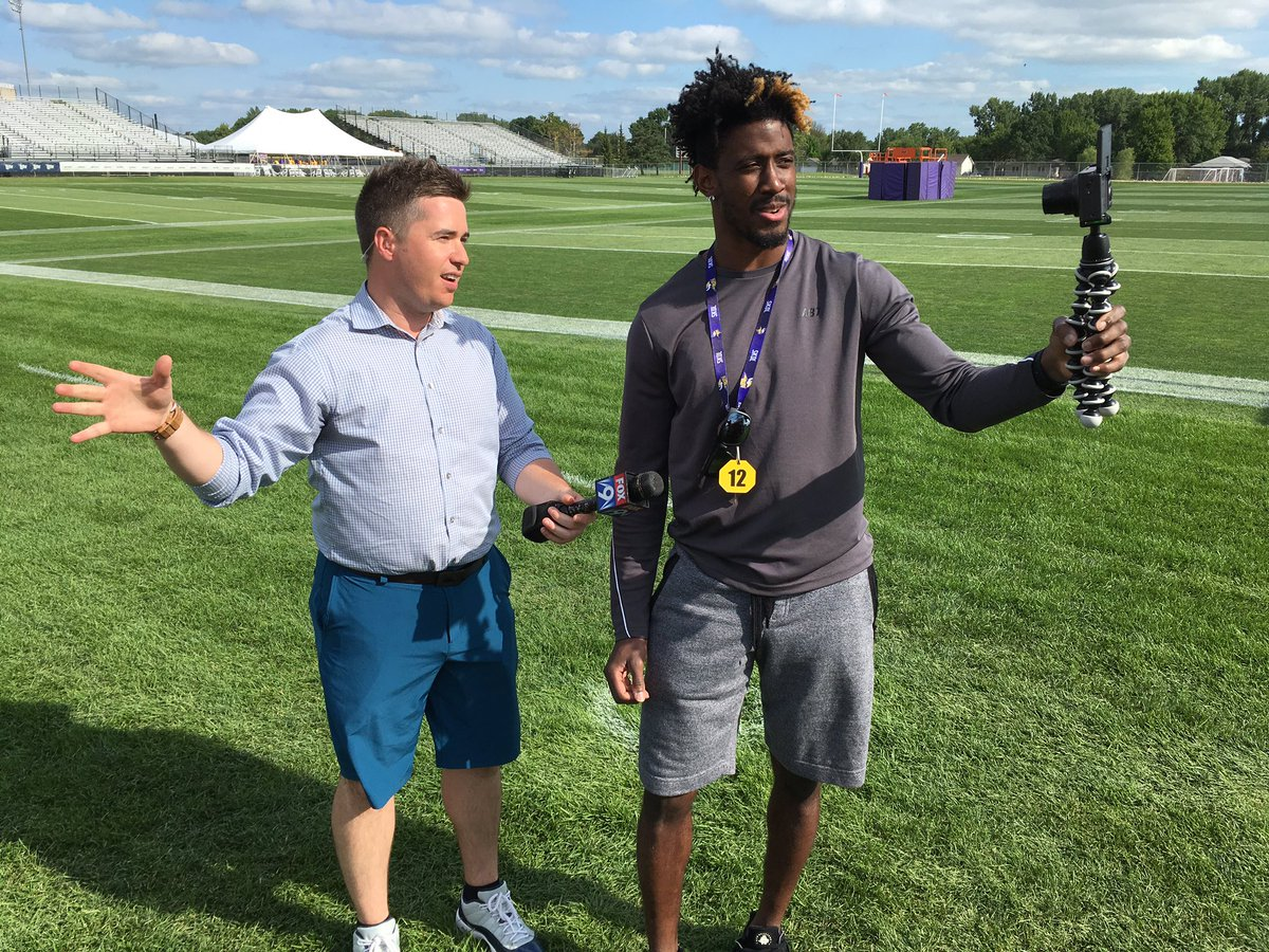 Coming up next...#Vikings rookie WR @rodney_adams87 joins us live as he streams live on Social media!  This is a first!<br>http://pic.twitter.com/CibYGiFfDe