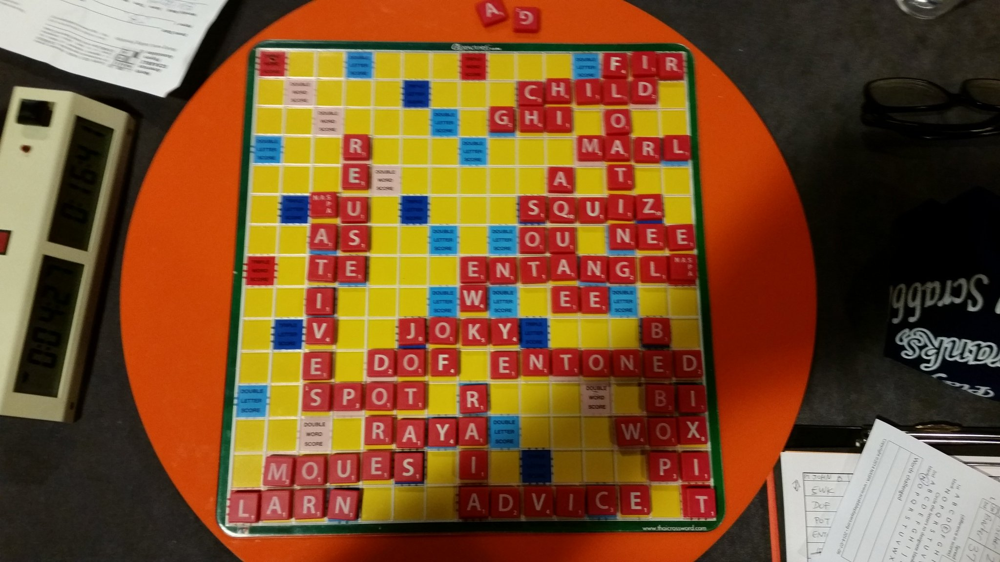 Got one, but took way too long to find floating.  Bebop was a fun 55 that helped seal the deal.  10-11 after day 3.  #scrabble #nasc2017 https://t.co/KcA5l37g7K