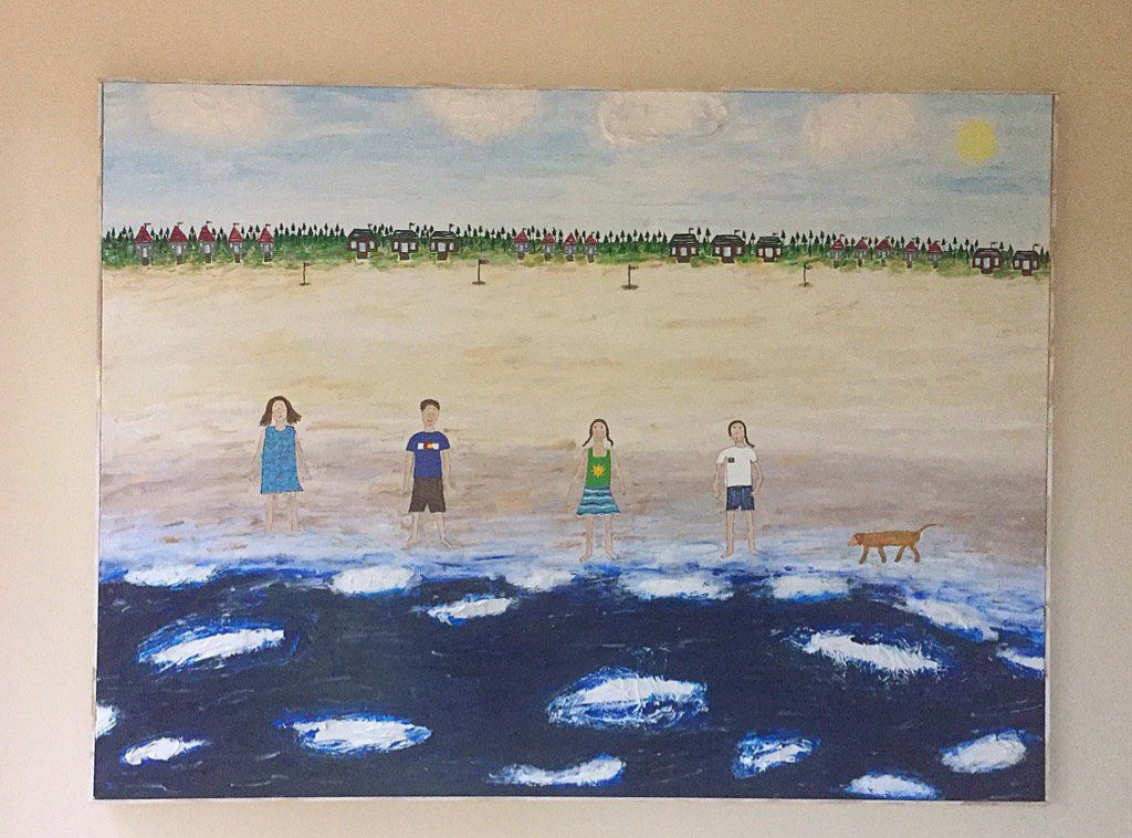 &quot;Bower Power Beach Day.&quot; #Acrylics &amp; #repurposed #plasticbags on #canvas. Framed in #reclaimed #wood. #Art #Painting<br>http://pic.twitter.com/02WAtfrMv2