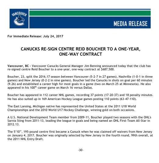 #Canucks sign Reid #Boucher https://t.co/iYb7tAQvt1
