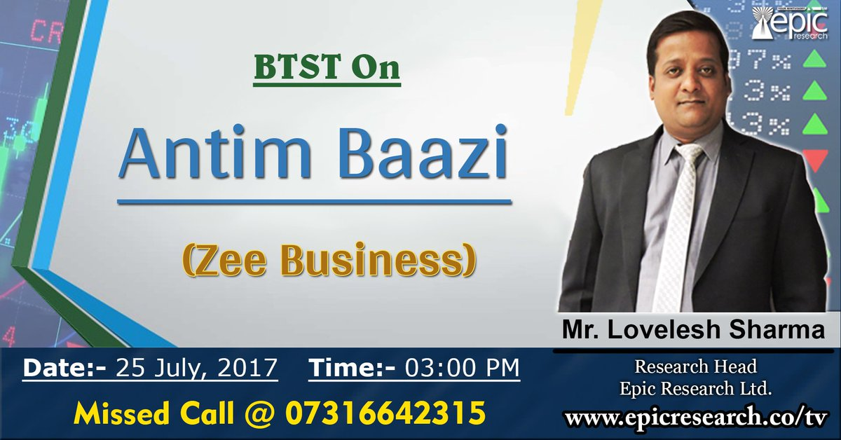 Watch #live #BTST show today by our #research head on Zee Business on the show &quot;Antim Baazi&quot; at 3 PM. You can Missed Call us @07316642315 <br>http://pic.twitter.com/UDTV9fib52