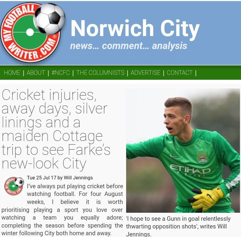 NEW: @WilliamThomasJ on cricket, injuries, silver linings &amp; a Cottage maiden   http:// norwichcity.myfootballwriter.com/2017/07/25/cri cket-injuries-away-days-silver-linings-and-a-maiden-trip-to-the-cottage-to-see-farkes-new-look-city/ &nbsp; …  RTs welcome #ncfc <br>http://pic.twitter.com/oB3yModHc0
