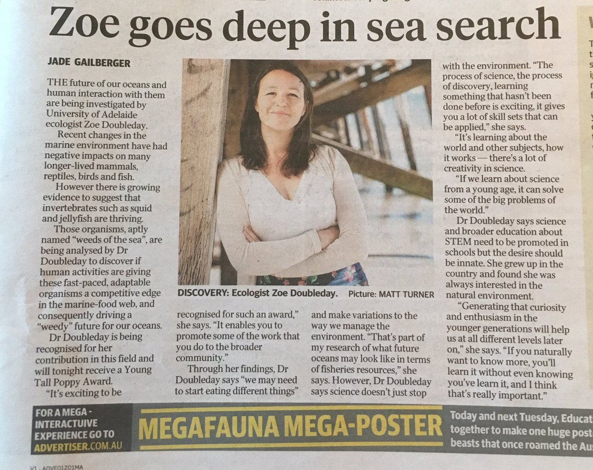 Another new #SATallPoppy @Zoe_Doubleday from @UniofAdelaide featured in @theTiser today! #emcr #womeninstem #ecology @environmentinst<br>http://pic.twitter.com/3YhBnoStpD