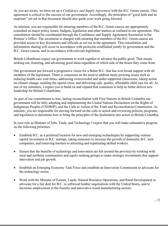 Richard Zussman On Twitter Here Is Mandate Letter For Minister Of