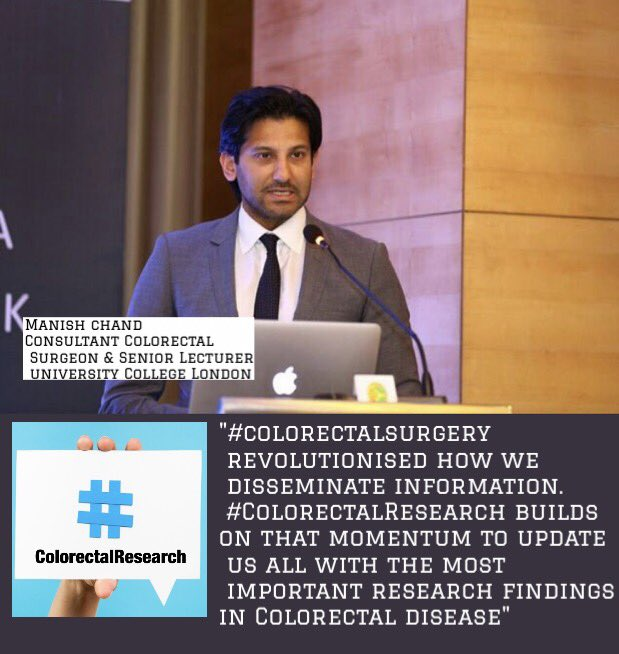 @ManishChandSurg explains the evolution of #colorectalresearch from the #colorectalsurgery #SoMe revolution - building momentum!<br>http://pic.twitter.com/U6dK2frsfB