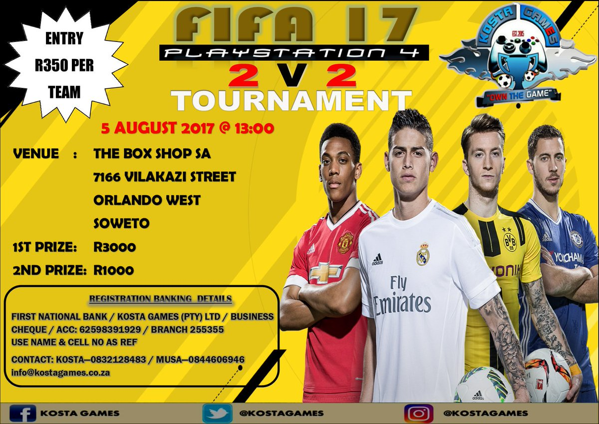 Presenting our 1st 2v2 #PS4 #FIFA17 Tournament in association with @ArtWaxConcepts with loads of entertainment at @theboxshopsa  #OwnTheGame<br>http://pic.twitter.com/615SR2wlWK