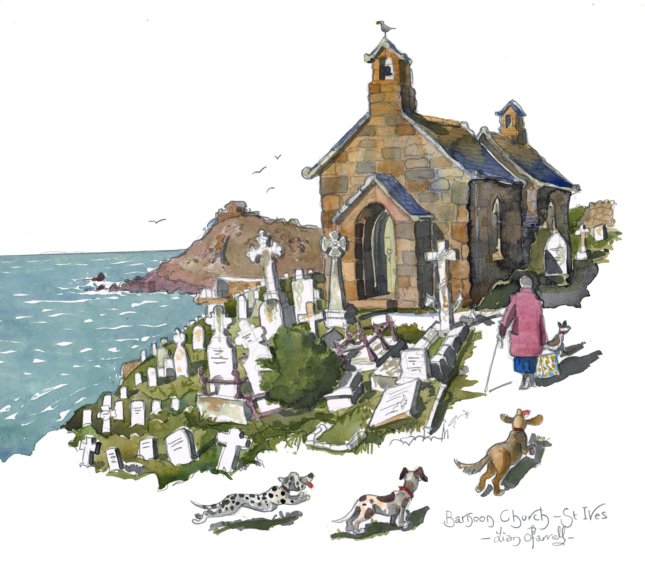 Barnoon Church in St Ives #Cornwall. The #artist Alfred Wallis is buried here. Its for sale too   http://www. liamofarrell.com/shop/watercolo ur-barnoon-church-st-ives/ &nbsp; …  @VisitStIves #art<br>http://pic.twitter.com/cht8YkEx9V